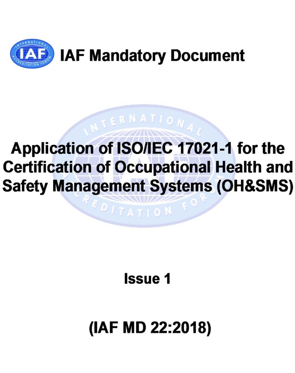 Oggi va in pensione l'RT 12:2006 – arriva lo IAF MD22:2018 – stiamo parlando di ISO 45001:2018