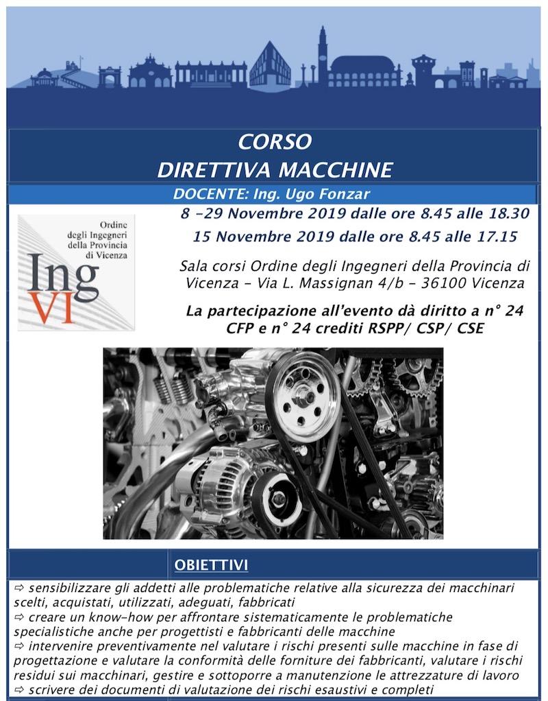 CORSO DIRETTIVA MACCHINE – 3 giornate 8 15 e 29 novembre – Ordine degli ingg. di Vicenza